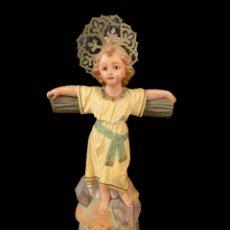 Arte: MARAVILLOSO NIÑO JESUS DE LA PASIÓN, TIPO OLOT, OJOS DE CRISTAL, IMPECABLE.. Lote 195097587