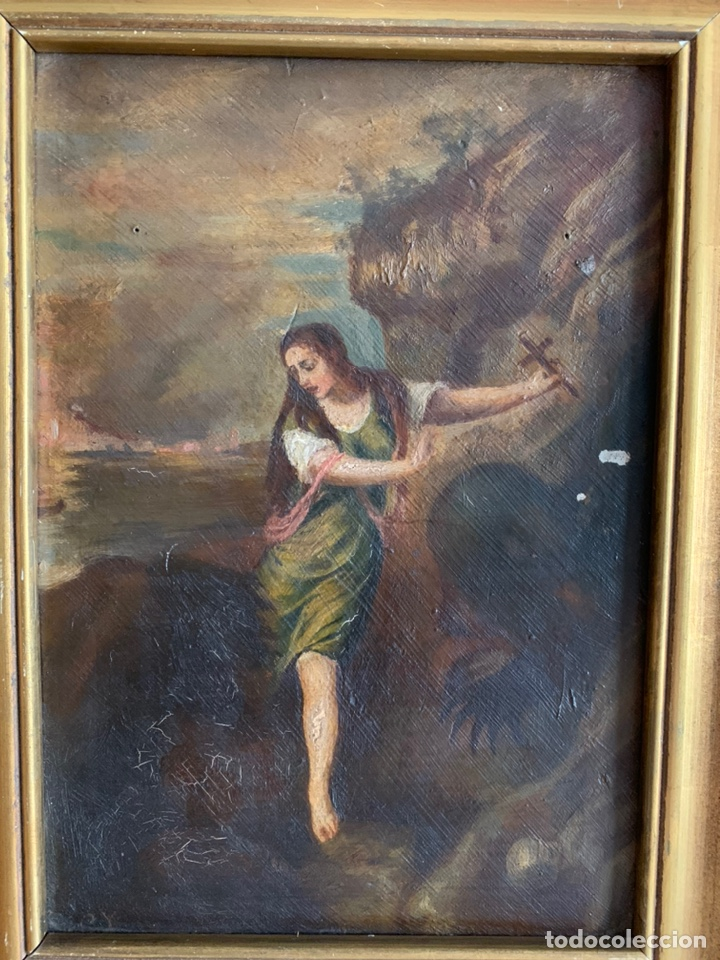 Arte: Santa Margarita ( TIZIANO) Óleo sobre Tabla. 31x24cm - Foto 2 - 195100983
