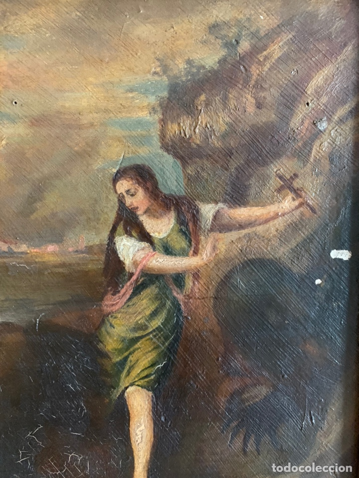 Arte: Santa Margarita ( TIZIANO) Óleo sobre Tabla. 31x24cm - Foto 3 - 195100983