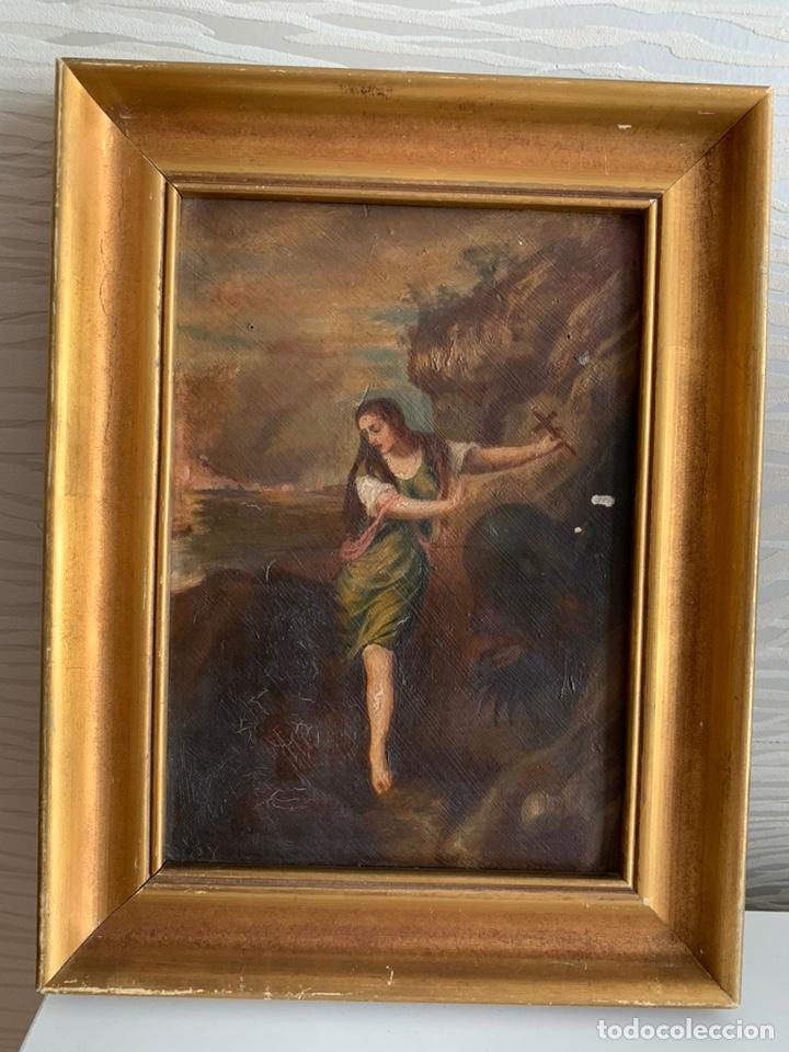 SANTA MARGARITA ( TIZIANO) ÓLEO SOBRE TABLA. 31X24CM (Arte - Arte Religioso - Pintura Religiosa - Oleo)