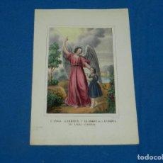 Arte: (M) GRABADO ANTIGUO EL ANGEL DE LA GUARDIA, PRICNIPIOS S.XX, 21,5X15CM,. Lote 195103467