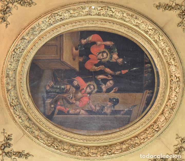 ECOLE SUD AMÉRICAINE XVIIÈME/XVIIIÈME SIÈCLE. L'ARRESTATION DE ST. CRÉPIN ET ST. CRÉPINIEN. (Arte - Arte Religioso - Pintura Religiosa - Oleo)