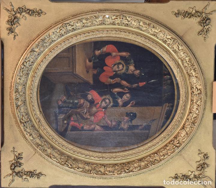 Arte: Ecole Sud Américaine XVIIème/XVIIIème siècle. L'arrestation de St. Crépin et St. Crépinien. - Foto 2 - 195125765