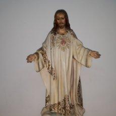 Arte: SAGRADO CORAZON DE JESUS DE LIS TALLERES DE OLOT 54 CM. Lote 195128558