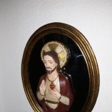 Arte: ESPEJO CON SAGRADO CORAZÓN DE JESÚS. Lote 195145178