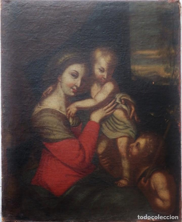 LA VIRGEN CON EL NIÑO Y SAN JUANITO. ÓLEO SOBRE LIENZO. MED: 63 X 51 CM. S. XVII. (Arte - Arte Religioso - Pintura Religiosa - Oleo)