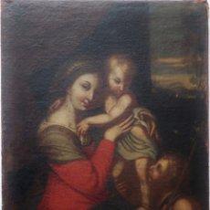 Arte: LA VIRGEN CON EL NIÑO Y SAN JUANITO. ÓLEO SOBRE LIENZO. MED: 63 X 51 CM. S. XVII.. Lote 195150398