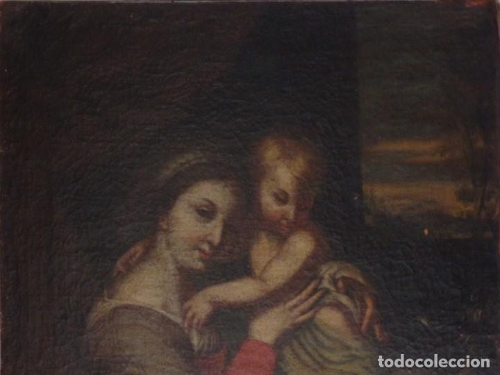 Arte: La Virgen con el Niño y San Juanito. Óleo sobre lienzo. Med: 63 x 51 cm. S. XVII. - Foto 2 - 195150398