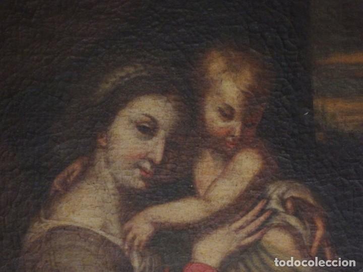 Arte: La Virgen con el Niño y San Juanito. Óleo sobre lienzo. Med: 63 x 51 cm. S. XVII. - Foto 4 - 195150398