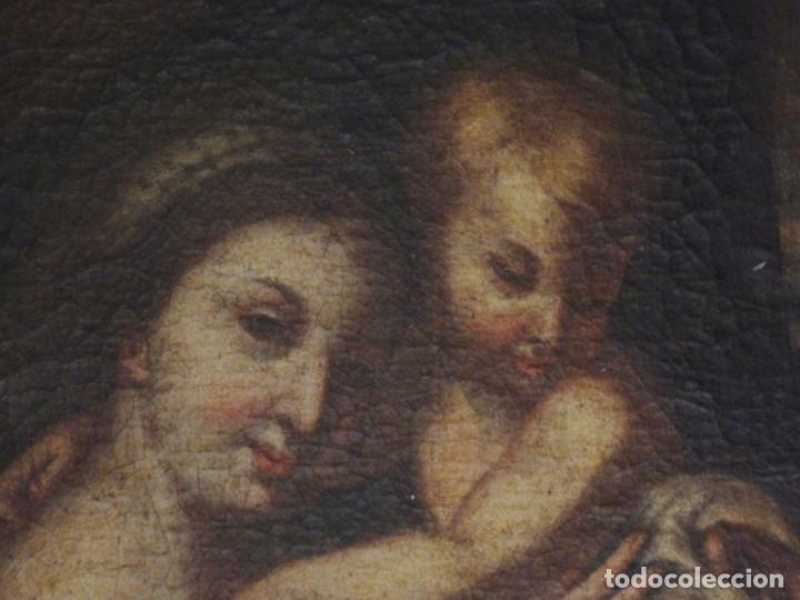 Arte: La Virgen con el Niño y San Juanito. Óleo sobre lienzo. Med: 63 x 51 cm. S. XVII. - Foto 5 - 195150398