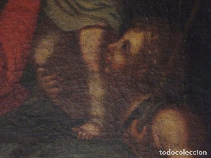 Arte: La Virgen con el Niño y San Juanito. Óleo sobre lienzo. Med: 63 x 51 cm. S. XVII. - Foto 8 - 195150398
