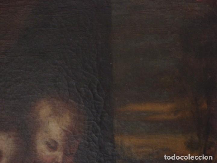Arte: La Virgen con el Niño y San Juanito. Óleo sobre lienzo. Med: 63 x 51 cm. S. XVII. - Foto 11 - 195150398