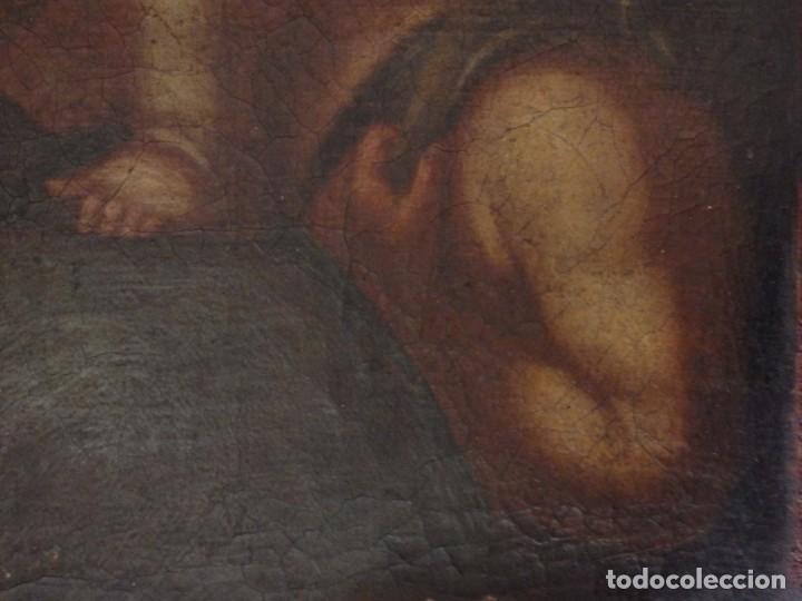 Arte: La Virgen con el Niño y San Juanito. Óleo sobre lienzo. Med: 63 x 51 cm. S. XVII. - Foto 12 - 195150398