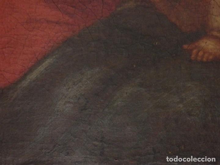 Arte: La Virgen con el Niño y San Juanito. Óleo sobre lienzo. Med: 63 x 51 cm. S. XVII. - Foto 13 - 195150398