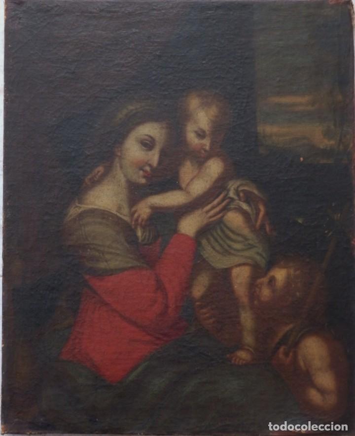 Arte: La Virgen con el Niño y San Juanito. Óleo sobre lienzo. Med: 63 x 51 cm. S. XVII. - Foto 15 - 195150398