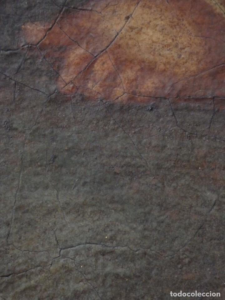 Arte: La Virgen con el Niño y San Juanito. Óleo sobre lienzo. Med: 63 x 51 cm. S. XVII. - Foto 25 - 195150398