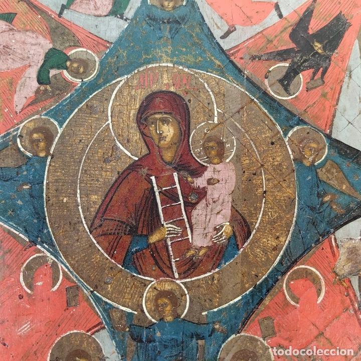 Arte: ICONO ORTODOXO. VIRGEN MARIA CON NIÑO. ÓLEO SOBRE TABLA. ESCUELA RUSA. RUSIA. XIX - Foto 14 - 195189178