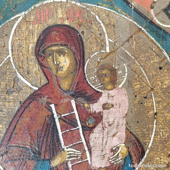 Arte: ICONO ORTODOXO. VIRGEN MARIA CON NIÑO. ÓLEO SOBRE TABLA. ESCUELA RUSA. RUSIA. XIX - Foto 15 - 195189178