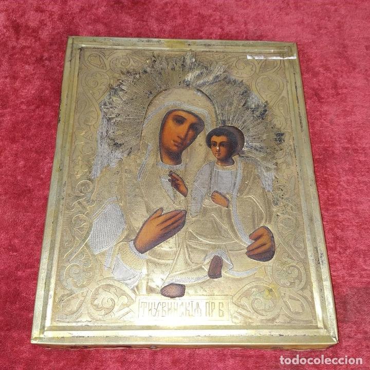 Arte: VIRGEN MARÍA CON NÑO. ICONO ORTODOXO RUSO. ÓLEO SOBRE TABLA. METAL DORADO. RUSIA. SIGLO XIX - Foto 2 - 195195682