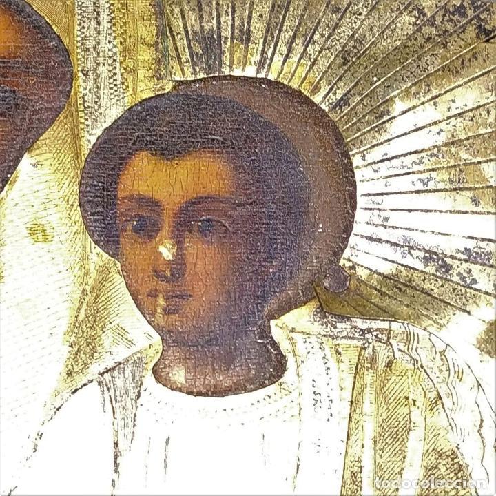 Arte: VIRGEN MARÍA CON NÑO. ICONO ORTODOXO RUSO. ÓLEO SOBRE TABLA. METAL DORADO. RUSIA. SIGLO XIX - Foto 4 - 195195682