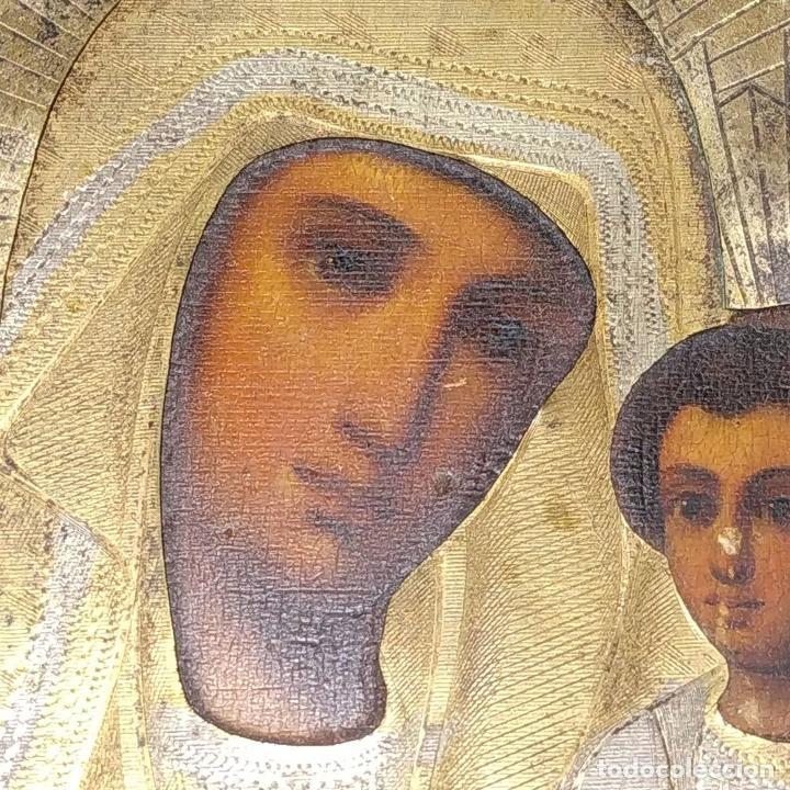 Arte: VIRGEN MARÍA CON NÑO. ICONO ORTODOXO RUSO. ÓLEO SOBRE TABLA. METAL DORADO. RUSIA. SIGLO XIX - Foto 5 - 195195682