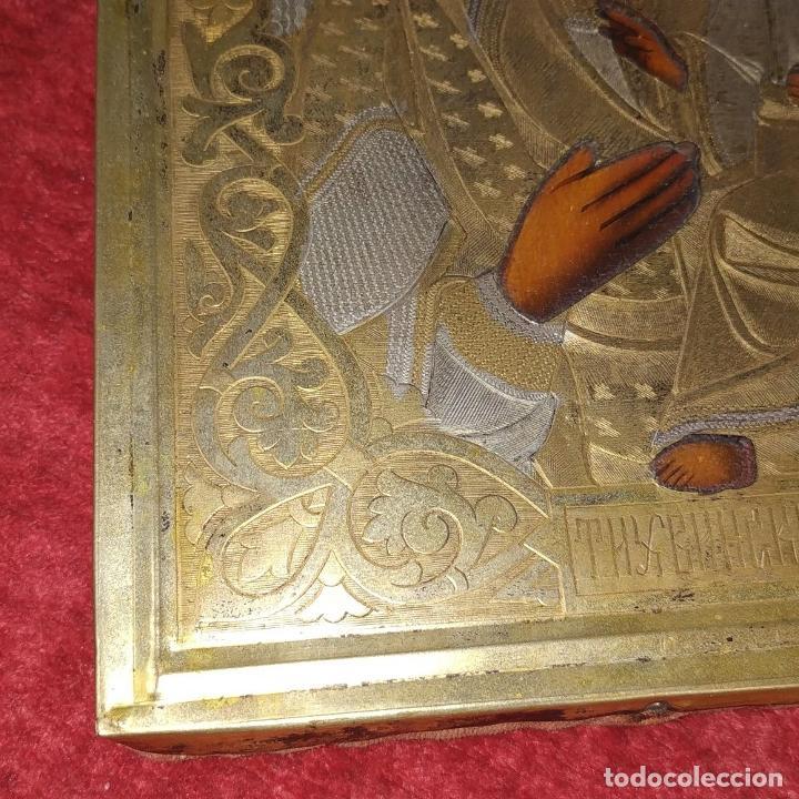 Arte: VIRGEN MARÍA CON NÑO. ICONO ORTODOXO RUSO. ÓLEO SOBRE TABLA. METAL DORADO. RUSIA. SIGLO XIX - Foto 10 - 195195682