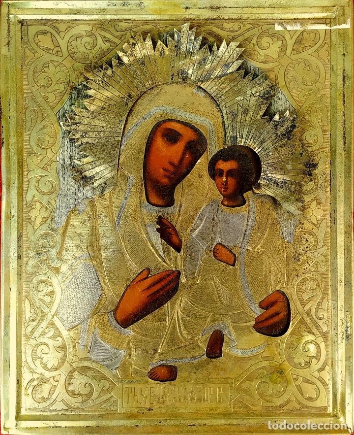 VIRGEN MARÍA CON NÑO. ICONO ORTODOXO RUSO. ÓLEO SOBRE TABLA. METAL DORADO. RUSIA. SIGLO XIX (Arte - Arte Religioso - Iconos)