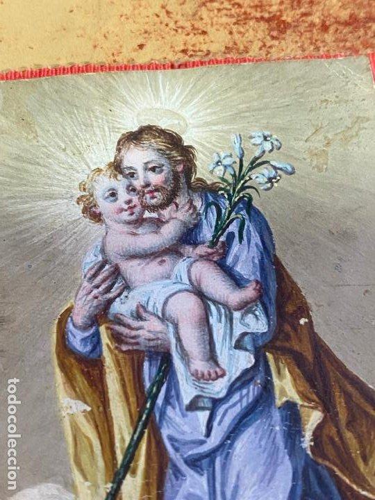 Arte: MARCO COLGANTE DE ORO DE 14 KILATES CON 2 MINIATURAS PINTADAS , UNA RELIGIOSA Y UN RETRATO - Foto 5 - 195197412