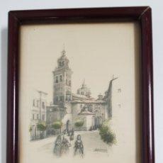 Arte: GRABADO COLOREADO DE LA CATEDRAL SANTA MARÍA DE MEDIAVILLA DE TERUEL. Lote 195247815