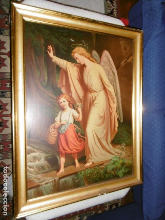 ANTIGUO CUADRO ÁNGEL DE LA GUARDA, CUSTODIO Y PROTECTOR. CROMOLITOGRAFIA. 70 X 90 CMS. (Arte - Arte Religioso - Pintura Religiosa - Otros)