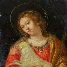 Arte: SANTA INÉS. ÓLEO SOBRE COBRE. ESCUELA ITALIANA. ITALIA. SIGLOS XVII-XVIII. Lote 195278556