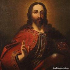 Arte: PINTURA RELIGIOSA ITALIANA ANTIGUA SALVATOR MUNDI DEL SIGLO XVIII. Lote 195292412