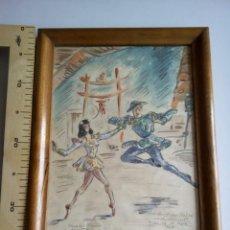 Arte: ACUARELA RAMÓN AULINA DE MATA 1946 .MERCEDES MOZART Y ALBERTO GRANDE . ENTRE DOS LUCES. Lote 195301857