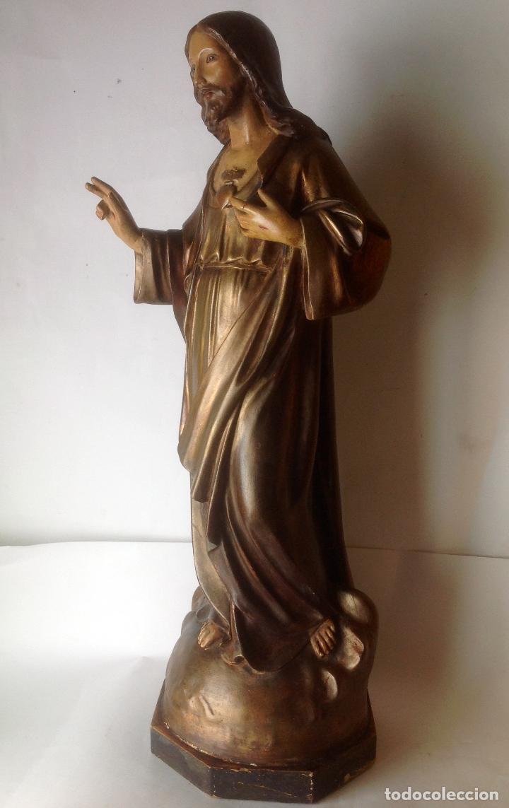 Arte: GRANDE - ANTIGUA Y EXPECTACULAR IMAGEN DE OLOT .CORAZON DE JESUS . 57 CM ALTO - Foto 2 - 195329330