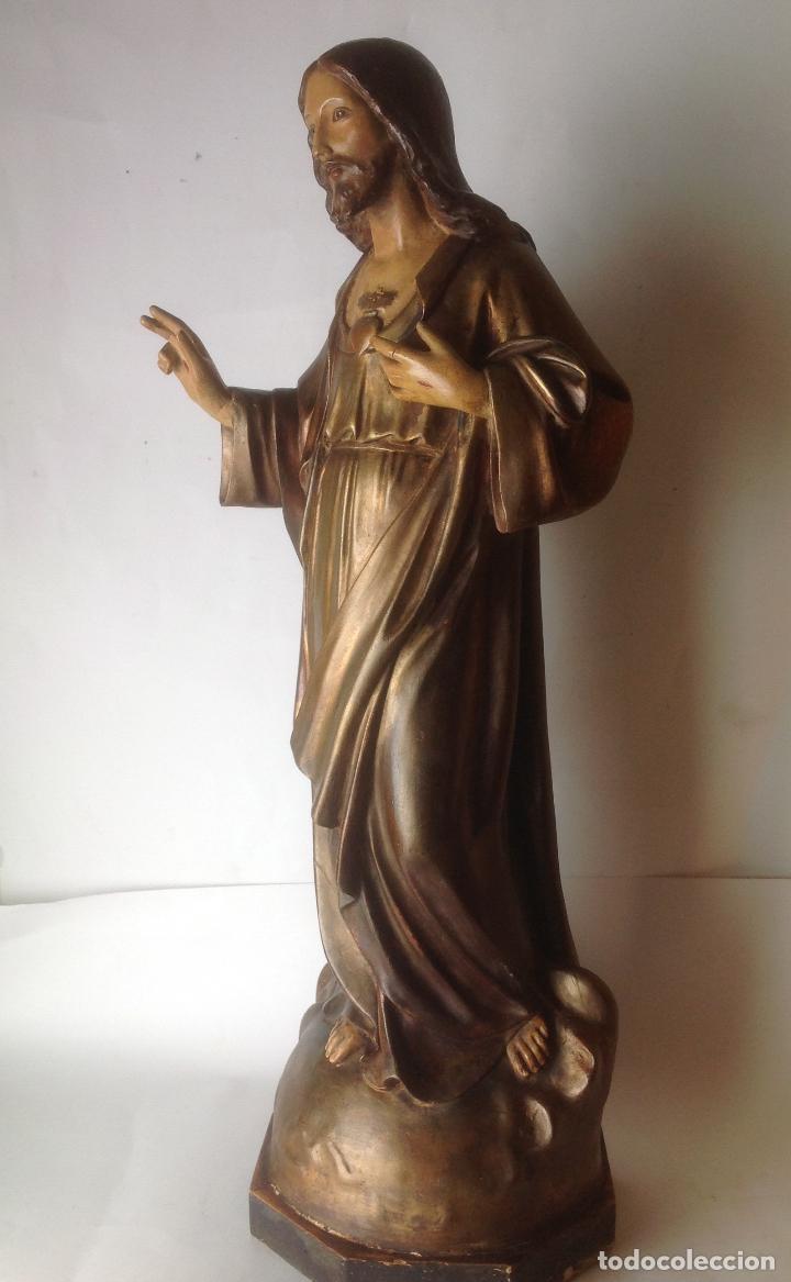 Arte: GRANDE - ANTIGUA Y EXPECTACULAR IMAGEN DE OLOT .CORAZON DE JESUS . 57 CM ALTO - Foto 4 - 195329330