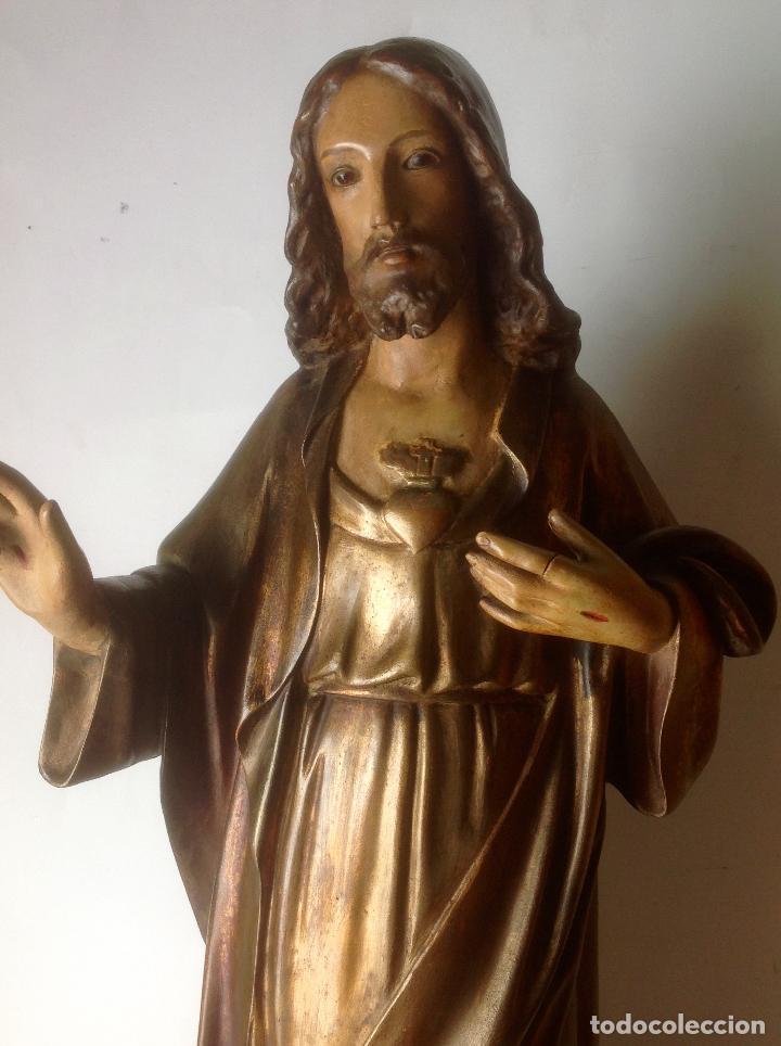 Arte: GRANDE - ANTIGUA Y EXPECTACULAR IMAGEN DE OLOT .CORAZON DE JESUS . 57 CM ALTO - Foto 5 - 195329330