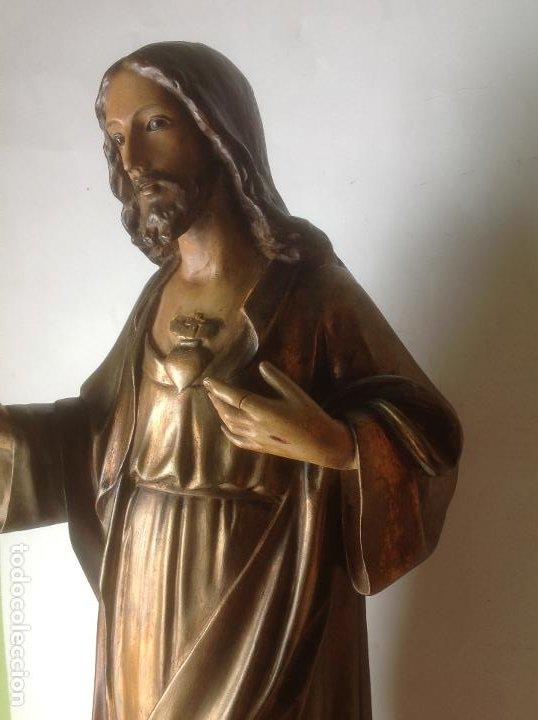 Arte: GRANDE - ANTIGUA Y EXPECTACULAR IMAGEN DE OLOT .CORAZON DE JESUS . 57 CM ALTO - Foto 6 - 195329330