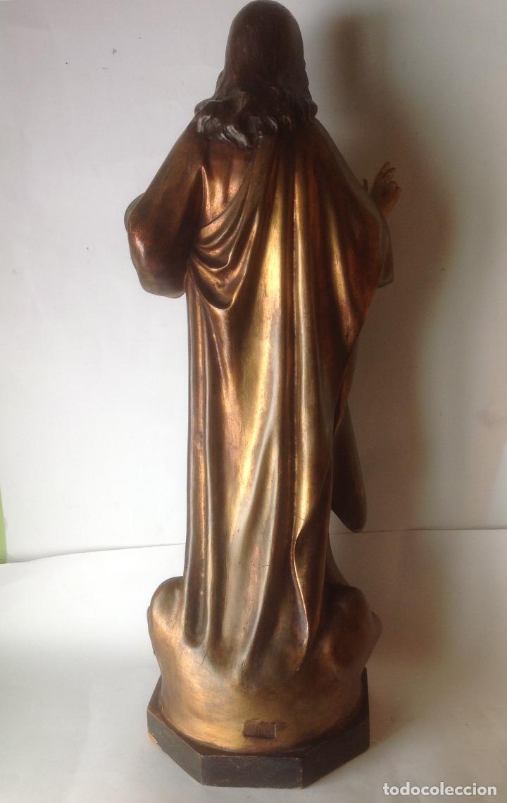 Arte: GRANDE - ANTIGUA Y EXPECTACULAR IMAGEN DE OLOT .CORAZON DE JESUS . 57 CM ALTO - Foto 8 - 195329330