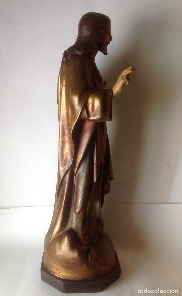 Arte: GRANDE - ANTIGUA Y EXPECTACULAR IMAGEN DE OLOT .CORAZON DE JESUS . 57 CM ALTO - Foto 10 - 195329330