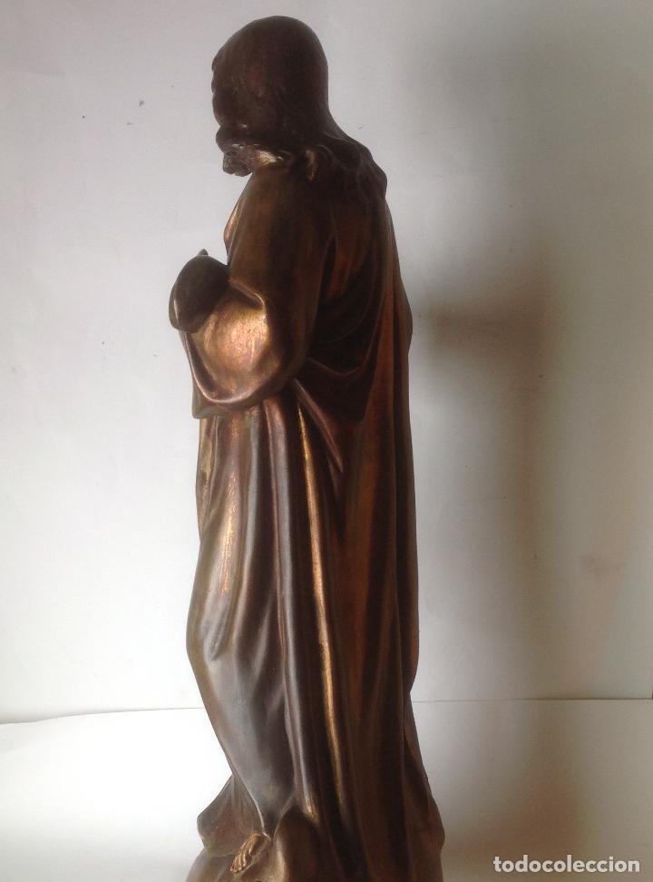 Arte: GRANDE - ANTIGUA Y EXPECTACULAR IMAGEN DE OLOT .CORAZON DE JESUS . 57 CM ALTO - Foto 11 - 195329330