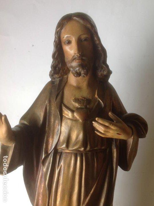 Arte: GRANDE - ANTIGUA Y EXPECTACULAR IMAGEN DE OLOT .CORAZON DE JESUS . 57 CM ALTO - Foto 14 - 195329330