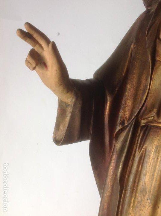 Arte: GRANDE - ANTIGUA Y EXPECTACULAR IMAGEN DE OLOT .CORAZON DE JESUS . 57 CM ALTO - Foto 16 - 195329330