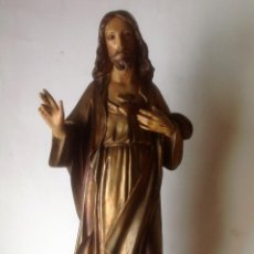 Arte: GRANDE - ANTIGUA Y EXPECTACULAR IMAGEN DE OLOT .CORAZON DE JESUS . 57 CM ALTO . Lote 195329330