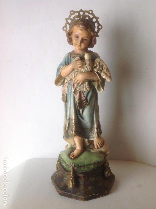 ANTIGUA IMAGEN DE OLOT , NIÑO JESUS CON PALOMA -ESPIRITU SANTO . SELLADO Y OJOS VIDRIO (Arte - Arte Religioso - Escultura)