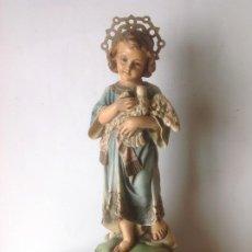 Arte: ANTIGUA IMAGEN DE OLOT , NIÑO JESUS CON PALOMA -ESPIRITU SANTO . SELLADO Y OJOS VIDRIO . Lote 195330456