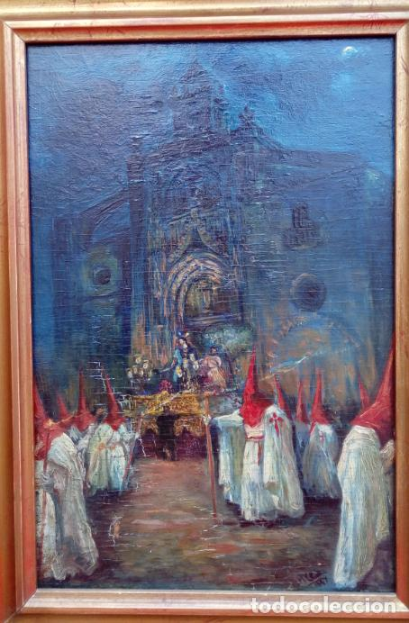 ÓLEO S/TABLA, PRENDIMIENTO DE JEREZ -EL PRENDI-. FIRMADO CON INICIALES 1947. DIM.- 44X32.5 CMS (Arte - Arte Religioso - Pintura Religiosa - Oleo)