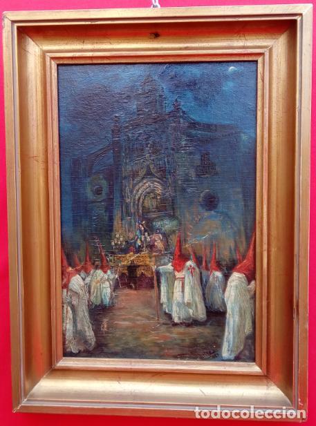 Arte: ÓLEO S/TABLA, PRENDIMIENTO DE JEREZ -EL PRENDI-. FIRMADO CON INICIALES 1947. DIM.- 44X32.5 CMS - Foto 2 - 195332608