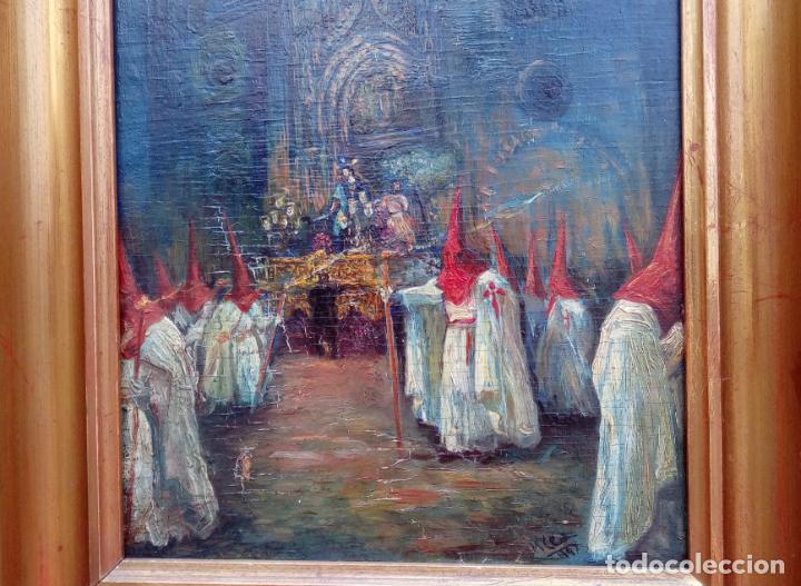 Arte: ÓLEO S/TABLA, PRENDIMIENTO DE JEREZ -EL PRENDI-. FIRMADO CON INICIALES 1947. DIM.- 44X32.5 CMS - Foto 3 - 195332608