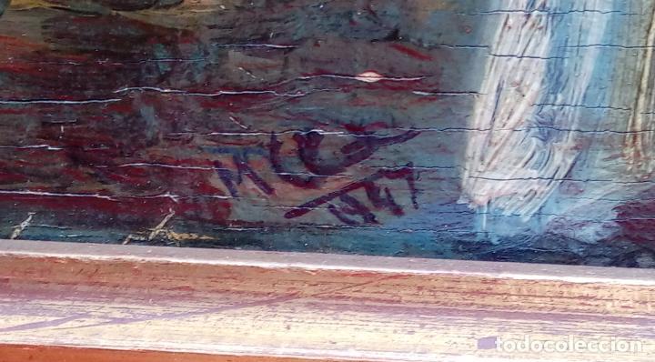 Arte: ÓLEO S/TABLA, PRENDIMIENTO DE JEREZ -EL PRENDI-. FIRMADO CON INICIALES 1947. DIM.- 44X32.5 CMS - Foto 7 - 195332608