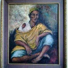 Arte: OLEO SOBRE TABLA SENABRE RETRATO TANGER 1949 . Lote 195333748